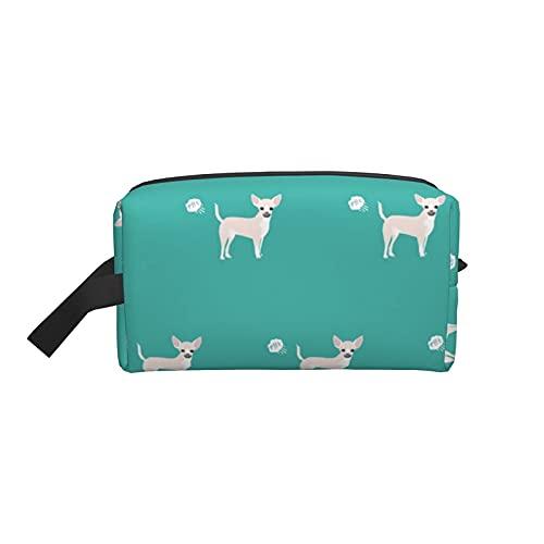 Bolsa de maquillaje Chihuahua Fart Divertido Abrigo blanco Raza de perro Verde azulado Bolsa de viaje cosmética Bolsa de aseo grande Organizador de bolsa de maquillaje portátil