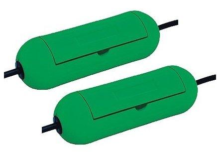 Doppelpack Sicherheitsbox, spritzwassergeschützt, ideal für den Garten / Rasenmäher, 48707 (2 Stück, Grün)