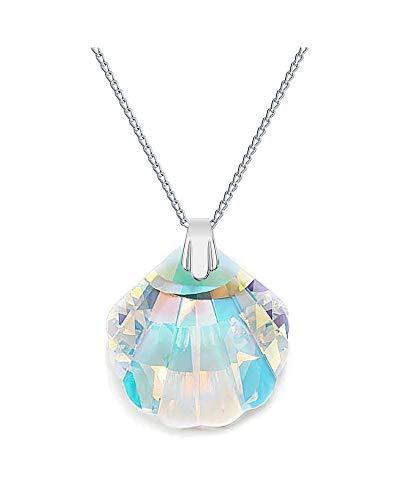Crystals & Stones Crystal AB Conchiglia con catena in argento 925 con ciondolo originale Swarovski Elements, collana con gioielli, con custodia, ideale come regalo per signora o ragazza