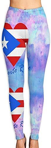 MODORSAN Puerto Rico Heart Leggings Estampados en 3D para Mujer Soft Yoga Workout Running Biker Mallas elásticas Leggings con Estampado Suave-M
