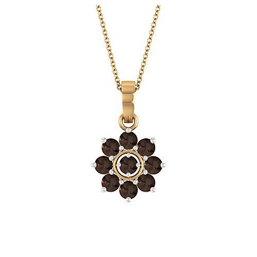 Collar de cuarzo ahumado, 1,32 quilates con forma redonda de 3,30 mm, colección de joyas florales doradas, collar colgante de racimo, regalo de San Valentín para ella,10K Oro amarillo Con cadena