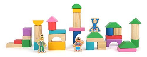 Small Foot- Sesame Street Blocs de Construction en Bois de la Marque, certifiés 100% FSC, pour Les Enfants de 12 Mois Jouets, 10970, Multicolore