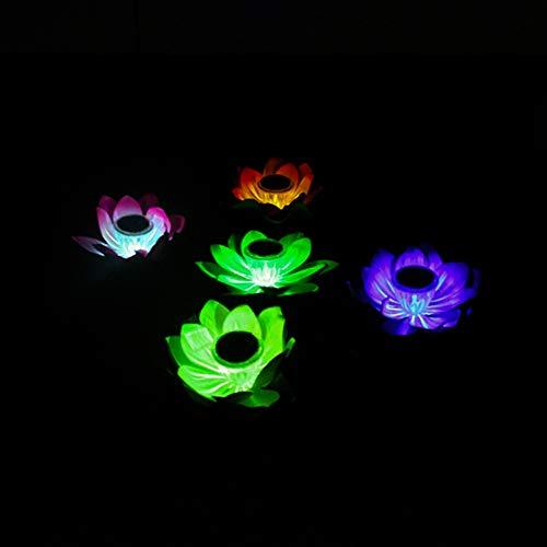 Wankd Schwimmende Solar-Lichter für Gartenteich oder Pool, LED, wasserdicht, Garten-Dekoration, plastik, Wasserdichtes Solar Lotus Light,Buntes Licht (gelb)