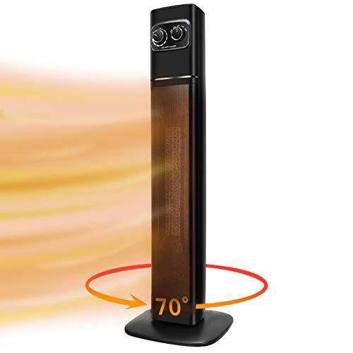 Heizlüfter Elektrische Heizung, Heizgeräte Elektrisch Heizgerät, Stand Elektrischer Heitzluefter 2200w/1300w Mit 70° Oszillation, 35inch, 2 Stufen Warm, Überhitzungs Und Umkippschutz Energiesparender