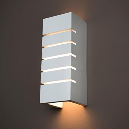 Gipswandleuchte von Activled Gipsleuchte AL-GL8202 im modernen Design in Wandfarbe überstreichbar E14 bis 40W 230V 50Hz Ideale Wandleuchte für Wohnzimmer Flur und Diele