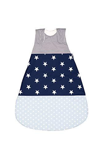 ULLENBOOM slaapzak baby l ÖkoTex-stoffen l Katoenen buitenslaapzak voor baby's l Babyslaapzak l 0-4 maanden / 56-62 l blauw lichtblauw grijs
