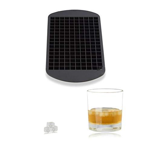 Relaxdays Eiswürfelform aus Silikon, für 1 cm Eiswürfel, BPA-frei, Eiswürfelbehälter, HxBxT: 1 x 23,5 x 12 cm, schwarz