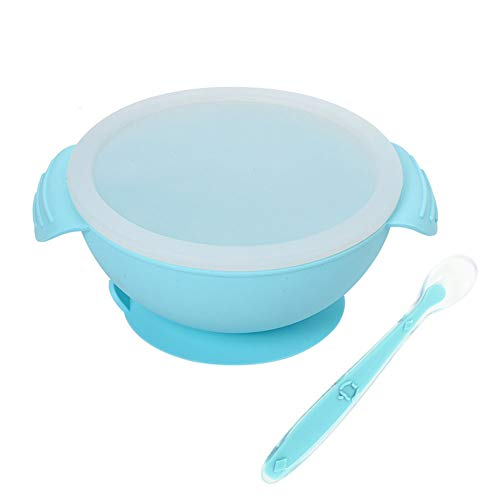 Homvik Set Tazón Silicona con Ventosa para Bebé Vajilla Infantil Antideslizante con Succión Cuenco Antideslizante con Cuchara Silicona para BLW(Azul)