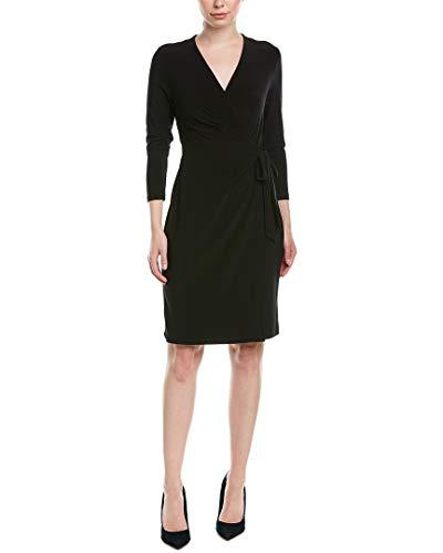Anne Klein Damen Classic V-Neck Faux Wrap Dress Kleid, schwarz, Mittel
