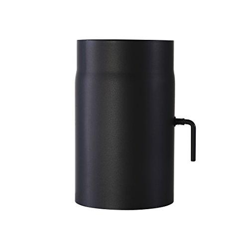 Ofenrohr Senotherm® mit Drosselklappe Wandstärke 2 mm Ø 130 hitzebeständig lackiert - Länge: 250 mm - Rauchrohr, Kaminrohr schwarz - für Kaminöfen
