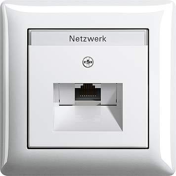 GIRA 1fach Netzwerk-Anschlussdose + 1 fach Rahmen & Abdeckung mit Beschriftungsfeld reinweiß glänzend