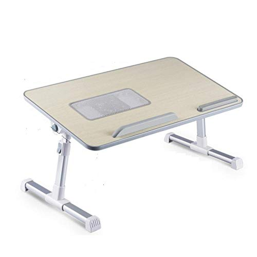 Adjustable Laptop Desk With Cooling Fan Foldable Notebook Laptop Stand Bed Tabletop Desks Home Study Table Computer Desk 52x30cm-Gray with Fan