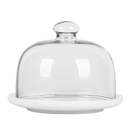 SZQ-Kuchenstand Keramik Kuchenform mit Deckel, Porzellan Servierplatte Glasstaub Dome-Kuchen-Käse-Salat Dome Chip & Dip Server 6/8/10 Inches Käseplattenabdeckungen