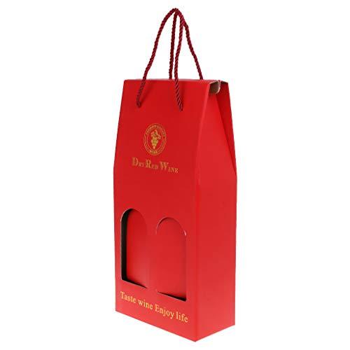 kdjsic Portador de Bolsa de Botella de Vino Doble de Papel Kraft Corrugado Caja de Embalaje de Regalo Soporte de Licor de Alcohol