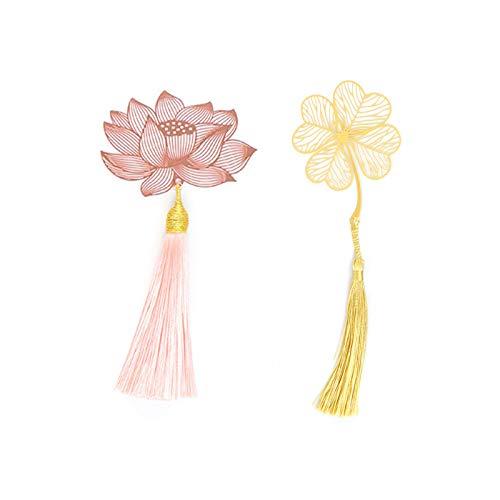 HvxMot Marcadores de Libros, 2 Piezas Marcapáginas de Flores, Metal Bookmarks, Diseño Hueco, con Borlas, para Libros, Documentos, Cuadernos (Trébol de Oro, Loto de Oro Rosa)