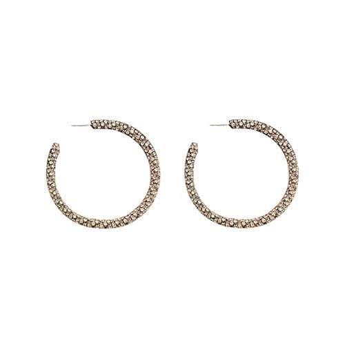 925 aguja de plata diamante lleno círculo geométrico pendiente temperamento pendientes de moda pendientes simples