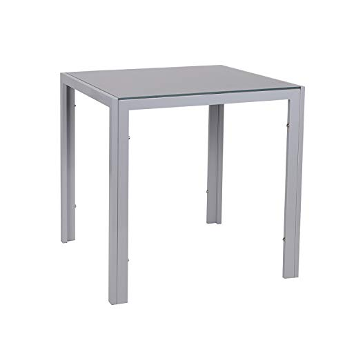 Glass Dining Table,75 * 75 cm Square Grey Table for Kitchen Dining Room