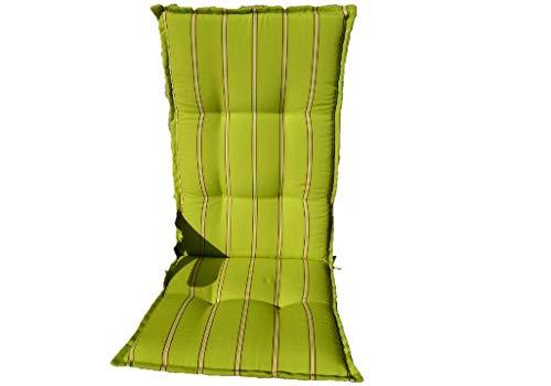 Sun Garden 2 Stück Hochlehner Dessin Prato 20339-21 Maße: ca.120x50x8cm - Farbe: apfelgrün mit Streifen B-Ware (nur Auflagen ohne Stühle)