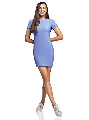 oodji Ultra Damen Enges Mini-Kleid mit Kurzen Ärmeln, Blau, DE 38 / EU 40 / M