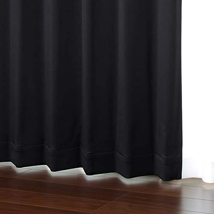 ぬいぐるみ曲げる構築する選べる32色 無地 1級遮光 防炎 オーダーカーテン「HAUSKA」ブラック【幅90cm 丈155cm 1枚入】