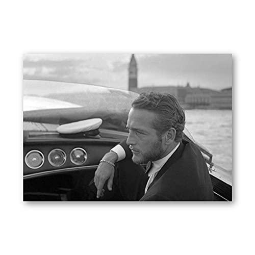 Kemeinuo Cuadros Modernos Paul Newman Impresiones fotográficas en Blanco y Negro fotografía clásica de Estrella de Cine Arte fotográfico póster de Moda Vintage decoración del hogar 60x90cm