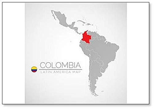 Kühlschrankmagnet, Motiv Kolumbien auf der Weltkarte