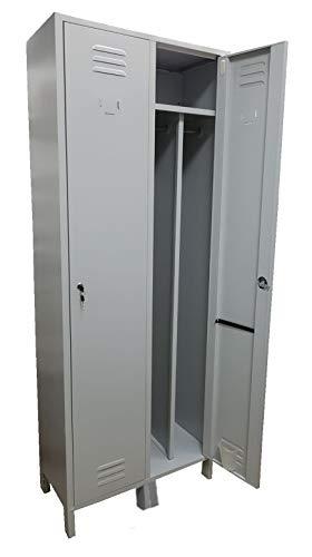 Armadio Armadietto Spogliatoio in metallo Sporco/Pulito 2 Posti Salva Spazio Dim. 72x34x180h cm