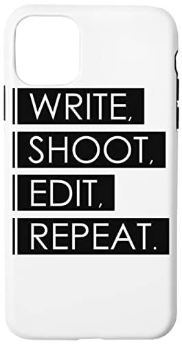 Write, Shoot, Edit, Repeat Caja del Teléfono para iPhone 11 Pro Concha Dura con Capa De Silicona en el Interior Phone Case