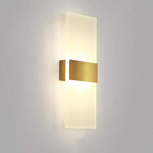 CLX LED-buitenwandlamp, buitenlamp van staal met bewegingsmelder en schemerschakelaar, roestvrijstalen lamp (6W warm licht), goud, 11 * 29 * 4,3 cm