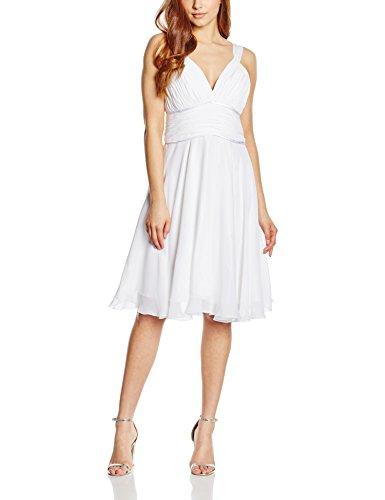 Astrapahl Damen Cocktail Kleid mit hochwertigem Chiffon, Knielang, Einfarbig, Gr. 40, Weiß
