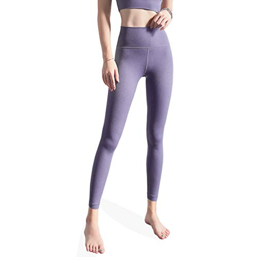 ROSEBEAR Vrouwen Hoge Taille Tight Yoga Broek met Taille Pocket Tummy Controle Fitness Hardlopen Workout Yoga Leggings Zwart S S Grijs-paars