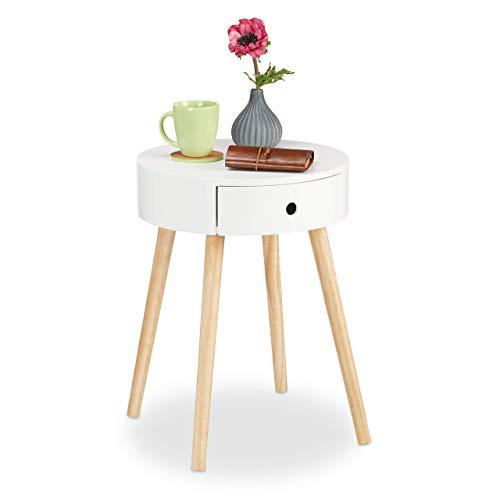 Relaxdays 10021839 Tavolino Rotondo, Cassetto, Design Scandinavo, da Salotto o come Comodino, HxØ: 52 x 40 cm, Legno, Bianco