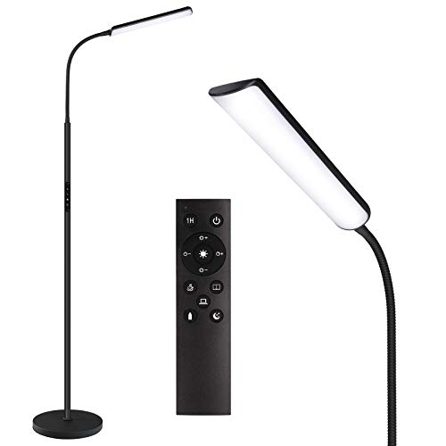 Dimunt LED Floor Lamp, Bright 18W Floor Lamps for Living Room with 1H Timer, Stepless Adjustable 3000K-6000K Colors and 10-100% Brightness Standing Lamp with Remote & Touch Control Reading Floor Lamps
