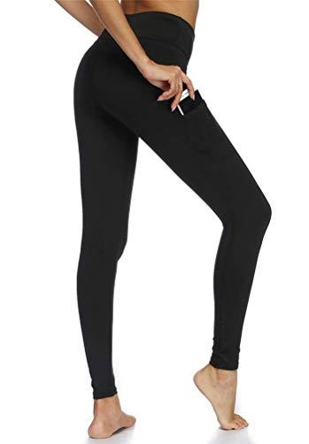 Stynice Leggings Damen Sporthose Lange 3/4 Sport Leggings Tights Stretch Yogahose Fitnesshose mit Handytasche (Schwarz-B, M)