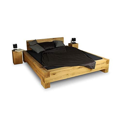 GREENHAUS Massivholzbett 200x220 cm Eiche massiv Holz Handarbeit und Massivholz aus Deutschland Balkenbett Übergröße