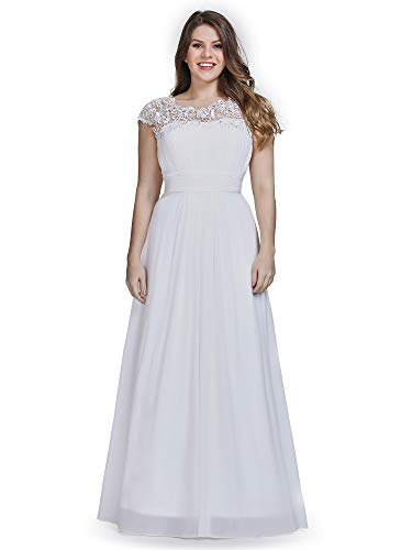Ever-Pretty Womens Empire Waist Chiffon Ruched Wedding Party Bridesmaid Dresses White US 14