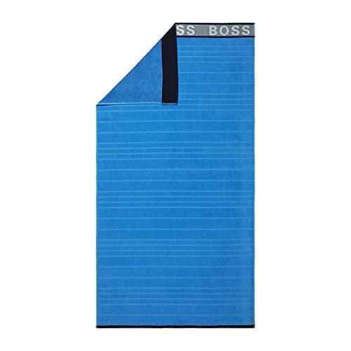 Boss - Toalla de baño, diseño de rayas, color azul
