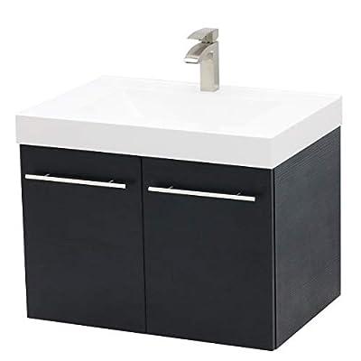"""WindBay Wall Mount Floating Bathroom Vanity Sink Set. Black Vanity, White Integrated Sink Countertop - 29.25"""""""