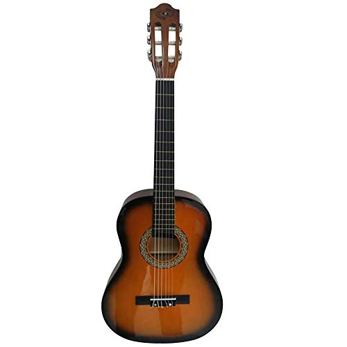 "Beginner 36"" Classical Acoustic Guitar - 6 String Junior Linden Wood Guitar w/Wooden Fretboard, Gig Bag, Tuner, Nylon Strings, Picks, Strap, for Beginners, Kids Adults - Pyle PGACLS82SUN (Sunburst)"