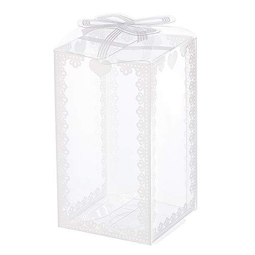 BENECREAT 28PCS Scatole Regalo Rettangolare in Plastica Trasparente Modello Nodo 6x6x10,5cm Scatole Regalo per Matrimoni, Feste di Compleanno e Decorazioni per la Casa