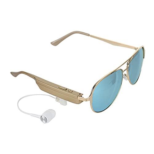 ZWRY Gafas inteligentes BT Stereo Headset Gafas de sol polarizadas con micrófono para montar, conducir, pescar, correr, golf, actividades al aire libre, oro