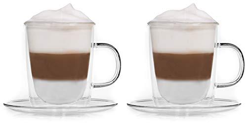 Snobby Feelino Dubbelwandige mokken, 360 ml, met schotel/thermokopjes/glazen kopjes/theekopjes/koffiekopjes met zweefeffect en onderzetter
