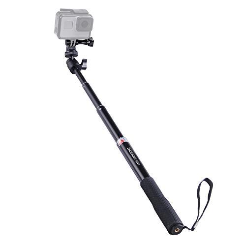 Smatree Extendable Aluminum Selfie Stick/Monopod Compatible for GoPro Max/Hero 9/8/7/6/5/4/3+/GOPRO Hero(2018)/AKASO GeekPro SJCAM SJ4000 SJ5000 Xiaomi Yi Camera Action Camera