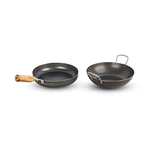 The Indus Valley Pre Seasoned Iron Cookware Set - Kadai (2L), pan...