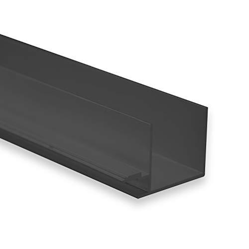 LED Aluminium Trockenbauprofil Schwarz T1 Etamin 2 Meter inkl. Abdeckung Opal (milchige Abdeckung) LED Trockenbauprofil 2m Schwarz f. Mikro LED-Streifen