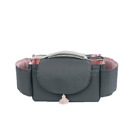 Classic Pink Kinderwagentasche Organizer Buggy Universal Aufbewahrungstasche Baby Wickeltasche mit Zwei Flaschenhaltern (Schwarz)