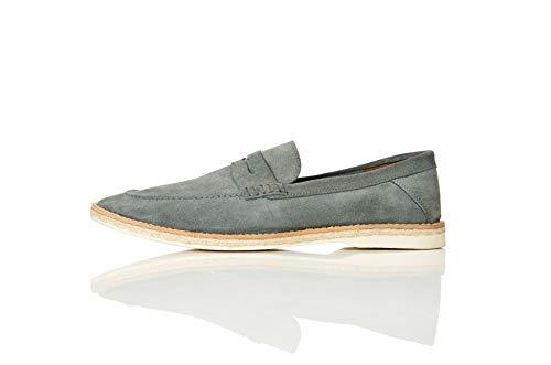 find. Jute Sole Soft Leather Mocassini, Blu Blue), 43 EU