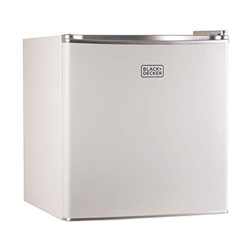 BLACK+DECKER BCRK17W Compact Refrigerator Energy Star Single Door Mini Fridge with Freezer, 1.7 Cubic Ft., White (Renewed)