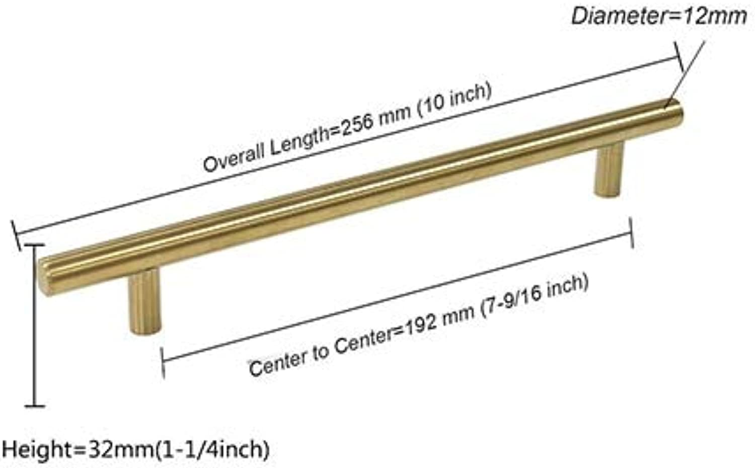 Probrico gold Cabinet Handle Stainless Steel 12mm Hole Center 64 mm256mm Kitchen T Bar Door Knob Furniture Drawer Cupboard Pull  (color  Hole Spacing 192mm, Size  10 PCS)