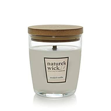 Nature's Wick Smoked Vanilla Scented Candle|10 oz. Jarred Candle|Natural Wood Wick Candle with up to 65 Hour Burn Time